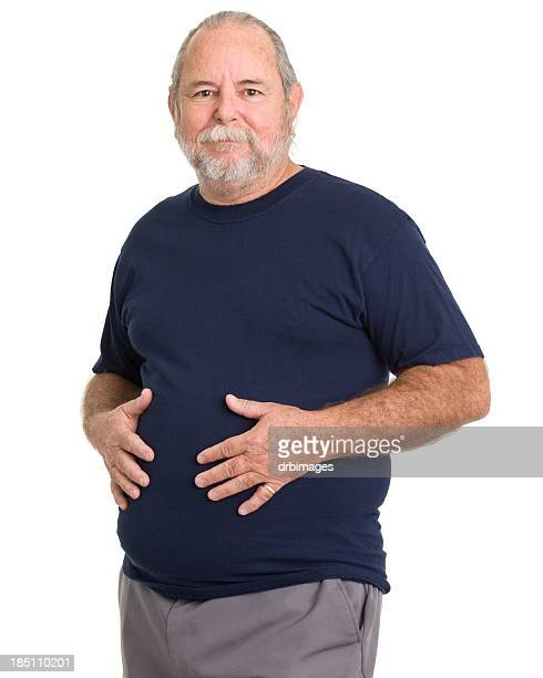 Senior Man Holds Stomach