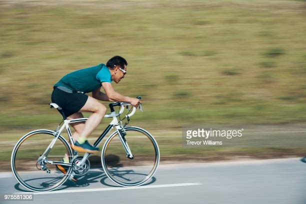 Senior man in a cycling race