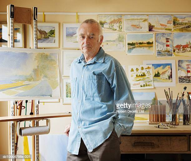 senior man in art studio, portrait - one man only stock pictures, royalty-free photos & images