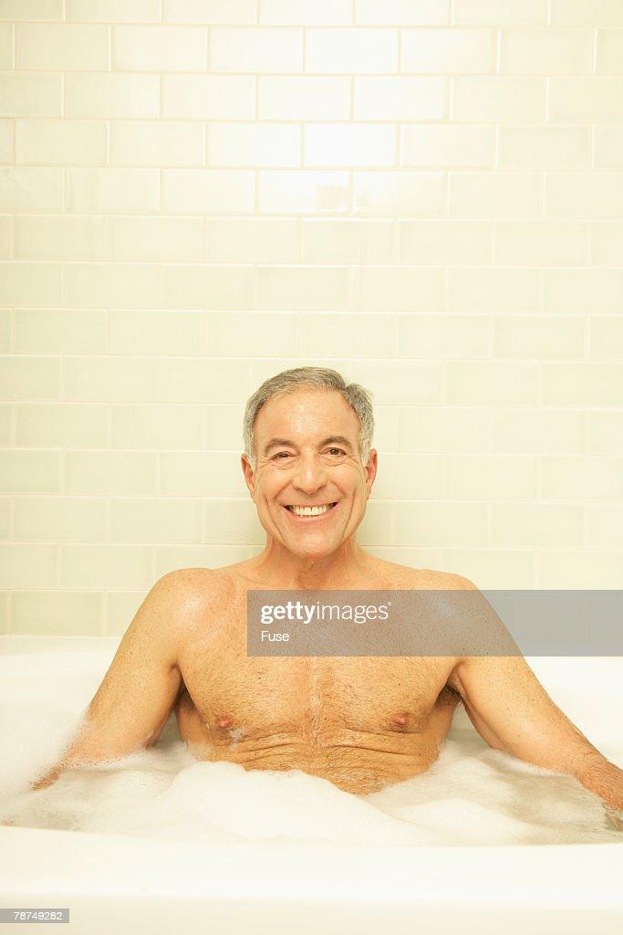 Senior Man In Bathtub Stock Photo   Getty Images