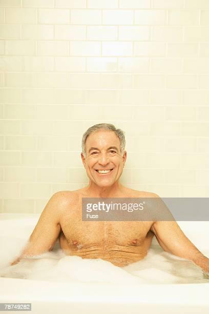Senior Man in Bathtub