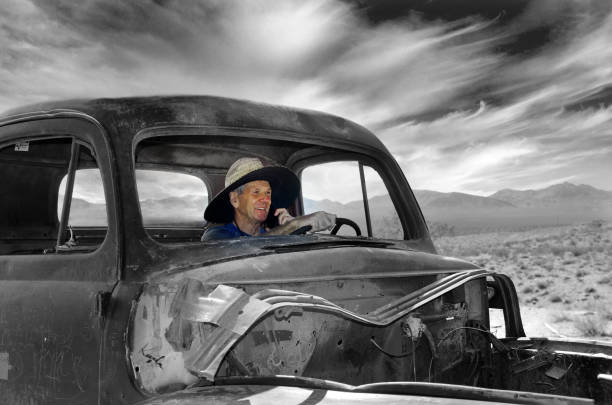 Senior Man in Ghost Town Truck