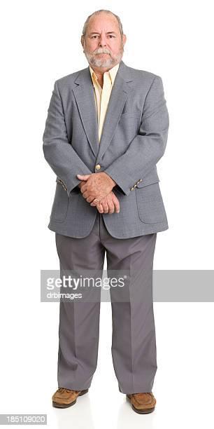 Senior Man In Gray Suit Posing