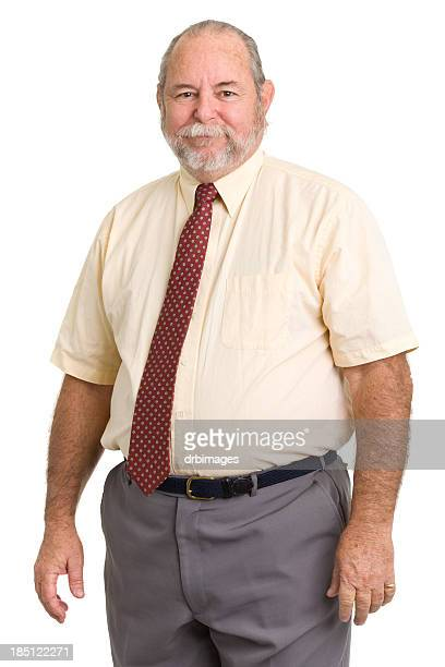 senior man in shirt and tie - short sleeved stock photos and pictures