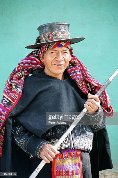 senior man in traditional guatemalan dress, portrait - guatemala stock pictures, royalty-free photos & images