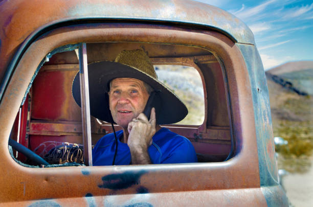 Senior Man in Truck at Rhyolite