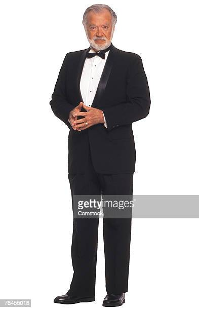 senior man in tuxedo - dinner jacket stock pictures, royalty-free photos & images