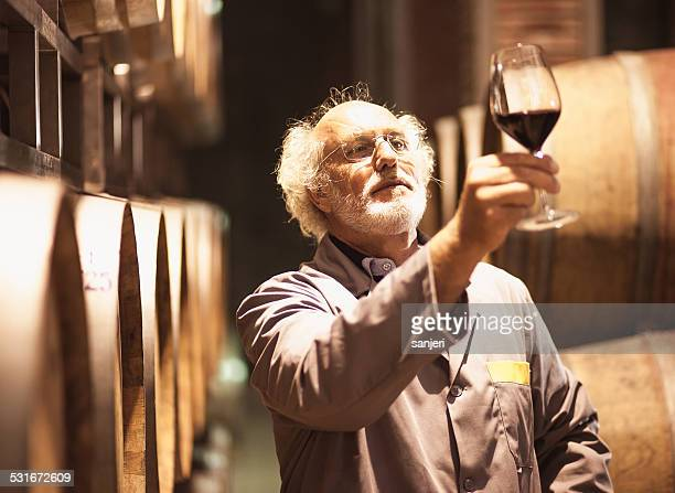 Senior man in wine cellar
