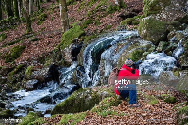 senior man kneeling to get a low shot of a frozen waterfall using a dslr - johnfscott stock pictures, royalty-free photos & images