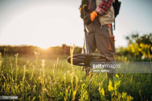 senior man looking for treasures with the metal detector - antiquities stock pictures, royalty-free photos & images