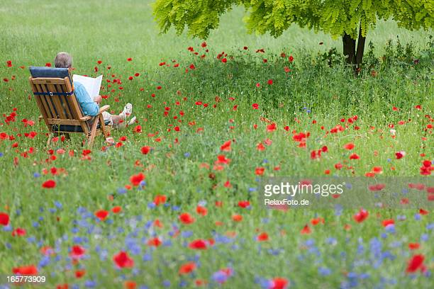 Senior man lying on deck chair in garden reading book