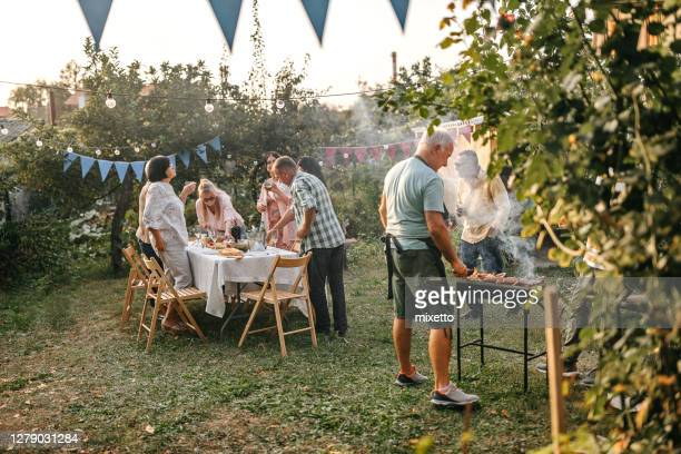 senior man making barbeque for his friends during garden party - garden party stock pictures, royalty-free photos & images
