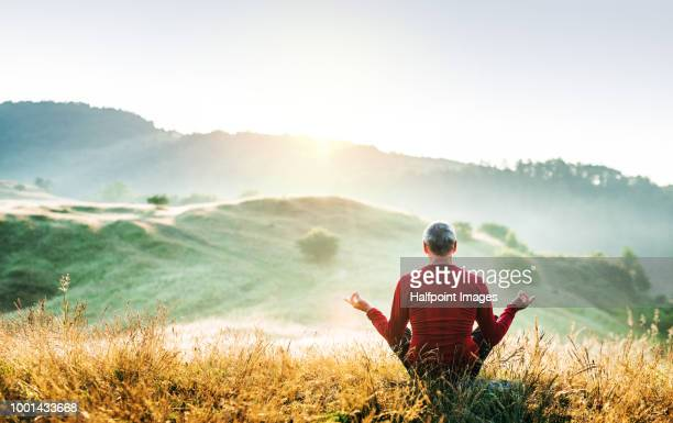 senior man meditating outdoors in nature in the foggy morning at sunrise. copy space. - meditieren stock-fotos und bilder