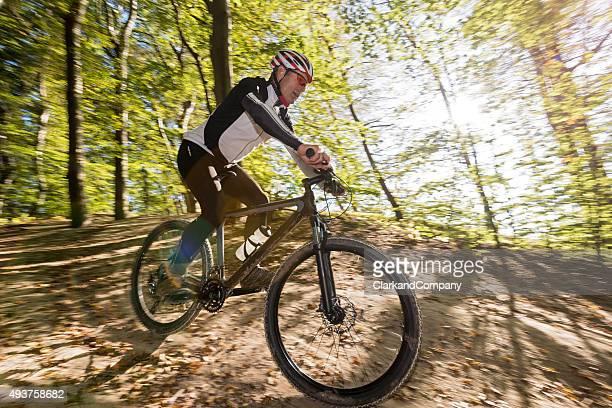 Senior Man Mountain Biking at Møns Klint Denmark