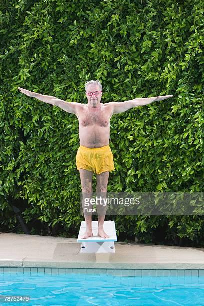 Senior Man on Diving Board