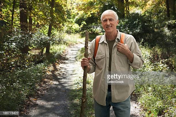 Senior man on hiking trail