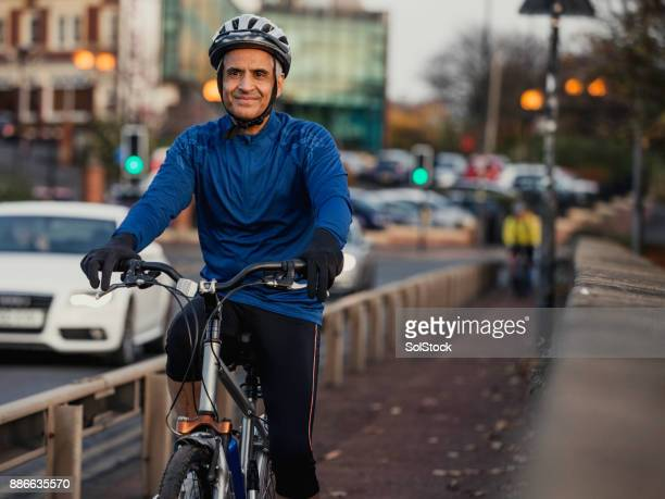 A Senior Man on His Street Bike