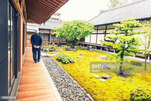 Senior man on temple garden