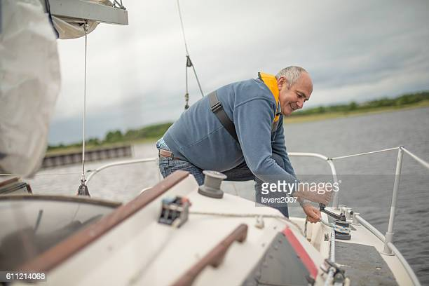 Senior man on the open waters