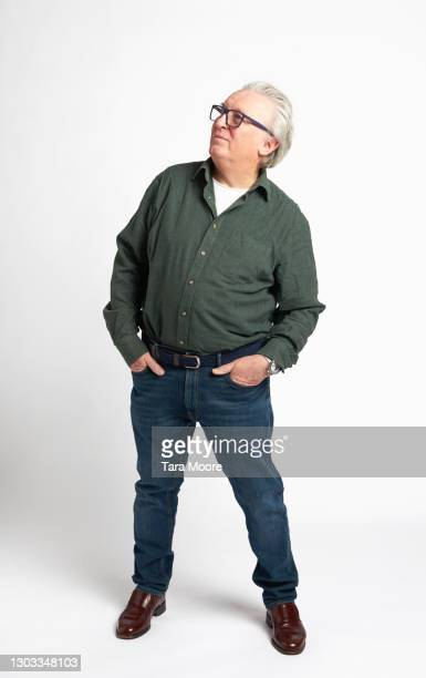 senior man on white background - full length stock pictures, royalty-free photos & images