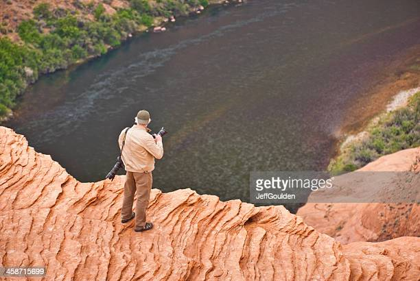 Senior Man Photographing the View of Horshoe Bend