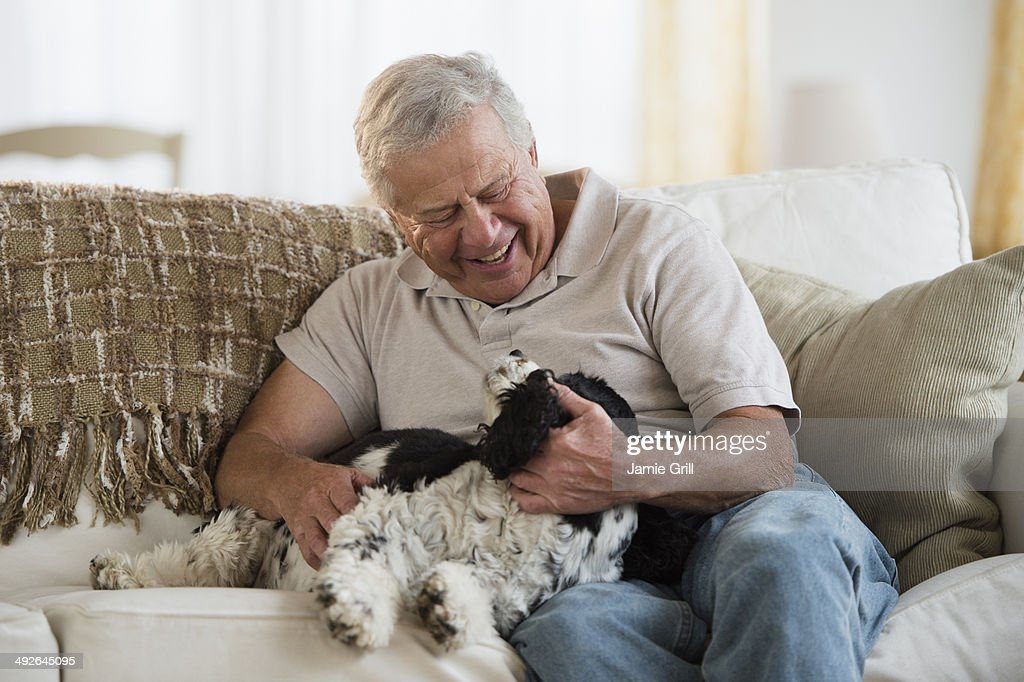Senior man playing with dog, Jersey City, New Jersey, USA : Stock Photo
