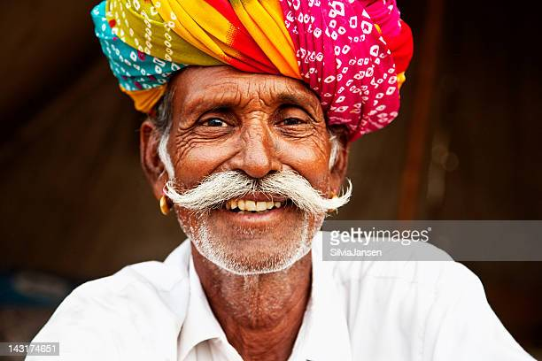senior man portrait in pushkar, india - indigenous culture stock pictures, royalty-free photos & images