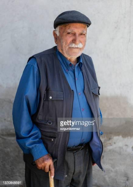 senior man portrait, turkish man from erzincan, east of turkey - kurdish ethnicity stock pictures, royalty-free photos & images