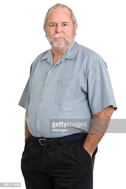 老人男性ポーズをとるには、無表情