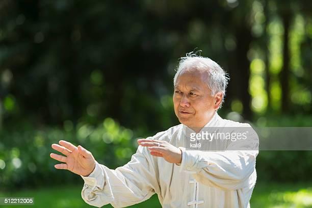 Senior man practicing tai chi