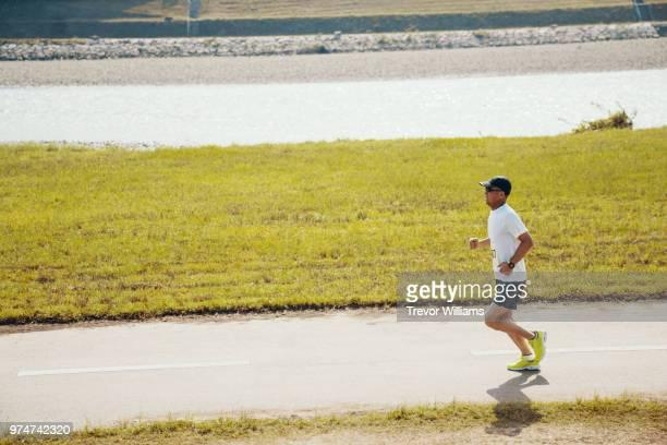 Senior man running a marathon