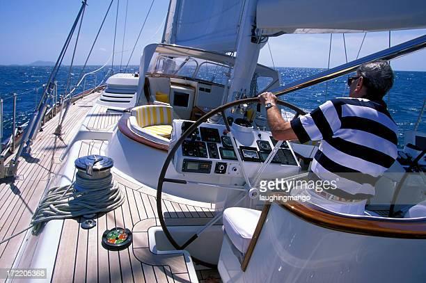 senior man sailing
