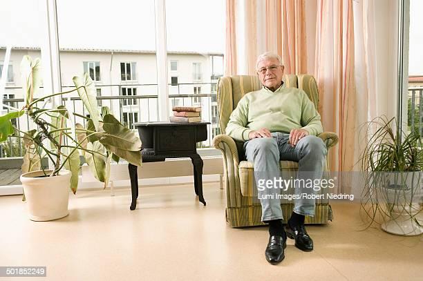 Senior man sits in nursing home, Bavaria, Germany