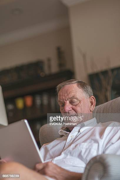 Senior man sitting in armchair and with digital tablet