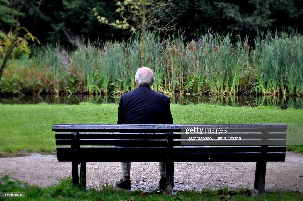 Senior man sitting on bench in garden : Stock Photo