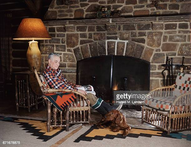 """senior man sitting on chair near fireplace, looking at dog  "" - pawed mammal stock pictures, royalty-free photos & images"