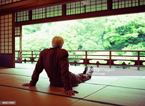 senior man sitting on tatami mat - 和室 ストックフォトと画像