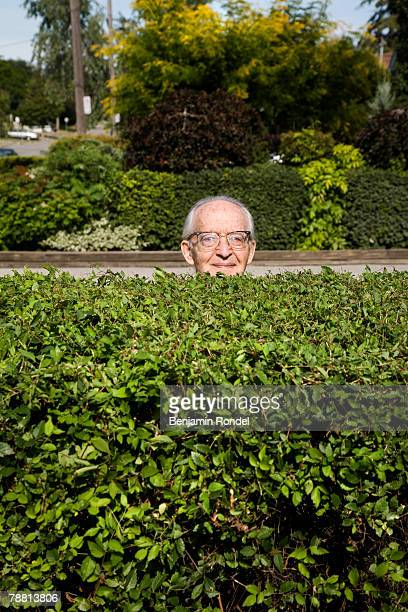Senior Man Standing Behind Hedge