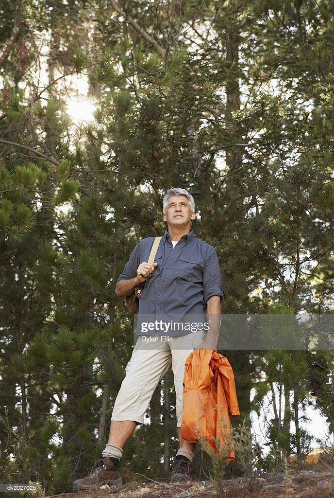 Senior Man Standing in Woodland : Stock Photo