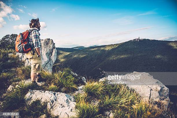 Senior Man Stops to Take in the View, Copy Space