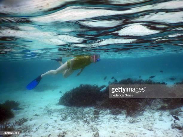Senior Man Swimming in Maldivian Tropical Lagoon at Low Tide