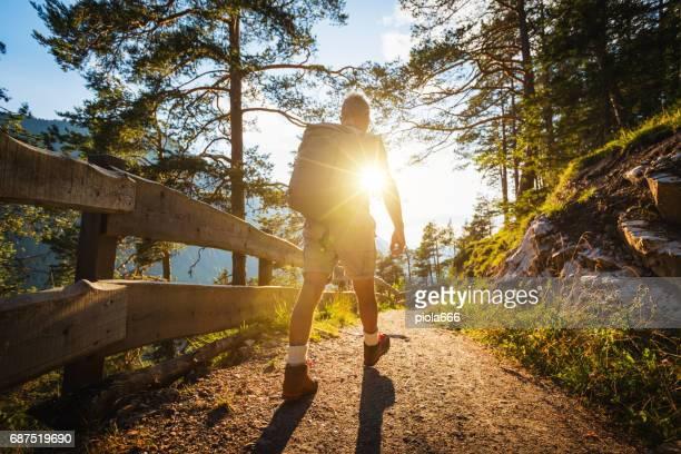 Senior woman Trail Wandern in einem Bergwald