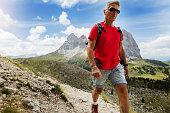 senior man trail hiking high mountain