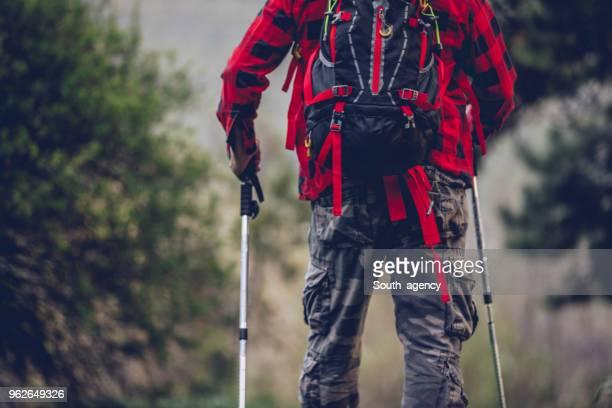 Senior man trail hiking