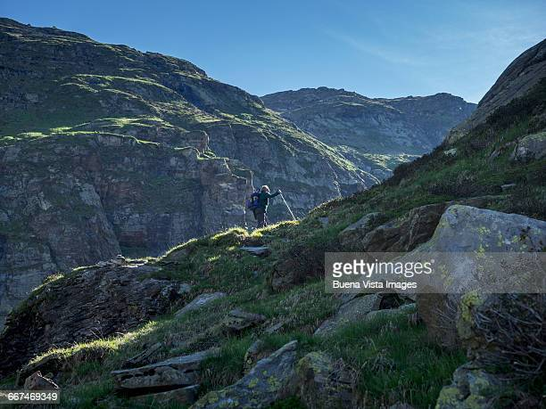 Senior man trekking in the mountains