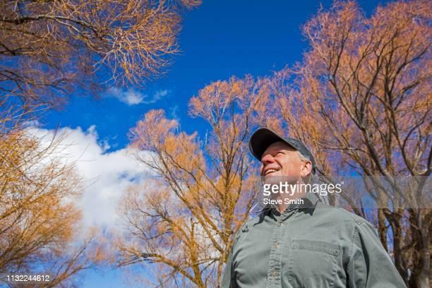 senior man under trees - 野球帽 ストックフォトと画像