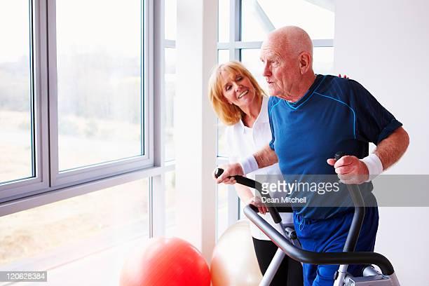 Senior Man Using an Elliptical Machine