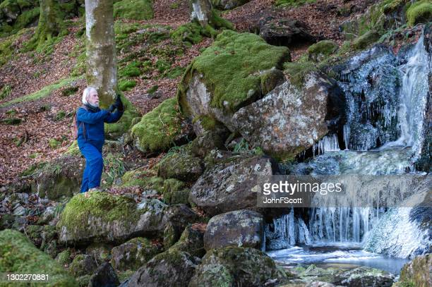 senior man using his phone at a frozen waterfall - johnfscott stock pictures, royalty-free photos & images
