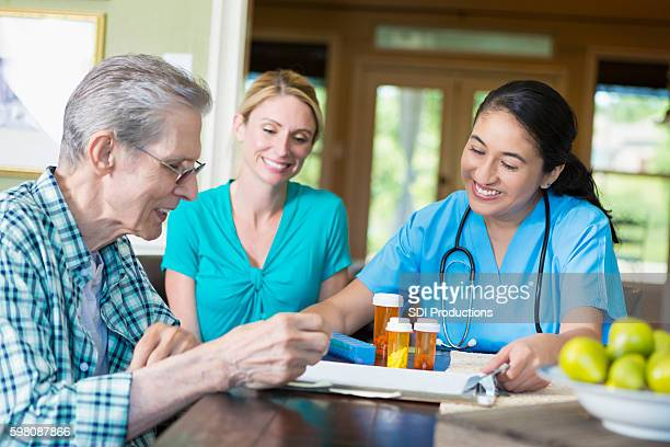 Senior man visits with home health care nurse