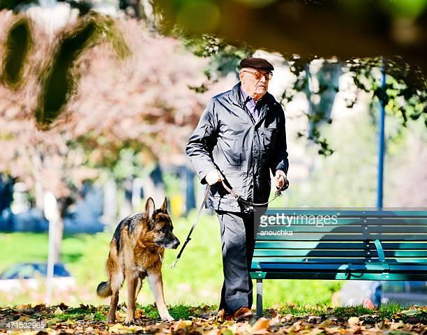 Senior Man Walking Dog in Milan, Italy